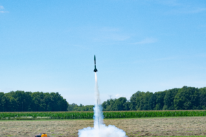 Liftoff of CG's Mr. Bean rocket, marking the first test flight of his flight computer / GPS / radio telemetry system!